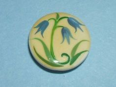 VINTAGE Hand-painted Brooks Button - Bluebell Flower, Plant Life