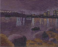 Impressionist Night Scene with City Scape
