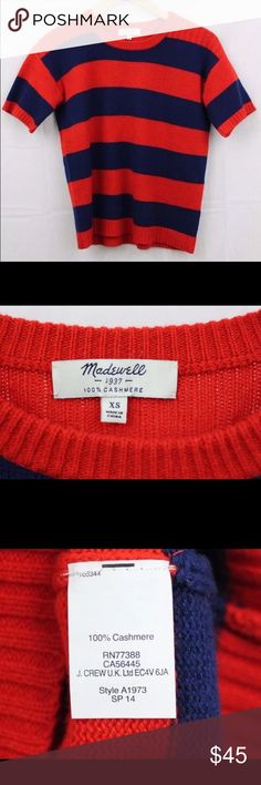 Madewell 1937 100% Cashmere Summer Sweater XS So soft! Gorgeous 100% Cashmere Red and Navy Summer Sweater.  A true classic!  19 inches (laying flat) pit to pit. 22 inches straight down center back of neck to bottom hem. A must for your wardrobe. Will bundle and receive 15% off of purchase total of two or more items! Madewell Sweaters Crew & Scoop Necks