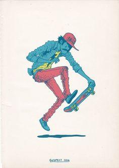 Characters / Skateboarding is a Crime by Gerhard Human , via Behance