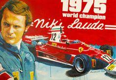 1975 Niki Lauda's Ferrari 312T poster by Dan Šenkeřík