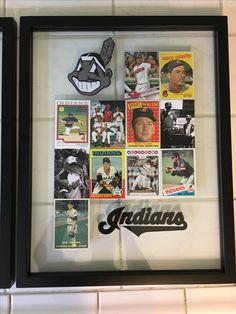 Baseball Card Display - with family photos in a float frame Baseball Card Organizer, Baseball Card Displays, Baseball Stuff, Baseball Photos, Display Cases, Display Ideas, Sports Memorabilia Display, Hockey Cards, Baseball Cards