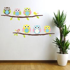 Wall decals Owls and birds on tree - ambiance-sticker.com