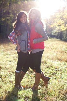 Preppy fall - plaid shirt, puffer vest, boots. Lovin the preppy style!