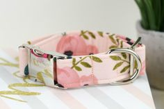 Dog Collar - Watercolor Floral Cotton Fabric Dog Collar - Fashion Dog Collar - Fabric Dog Collar - Rose Gold Hardware - Sandy Paws Collar Co Online Pet Supplies, Dog Supplies, Best Dog Food, Best Dogs, Buy Pets, Dog Id, Pet Carriers, Outdoor Dog, Dog Paws