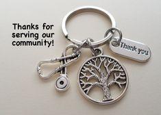 Nurse Appreciation Gift Keychain, Stethoscope & Tree Charm Keychain, Employee Gift Coworker Gift, Work Team Gift, Thank you Gift, RN Gift