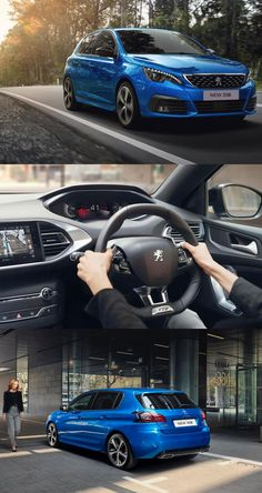 """Now, the multi-award winning Peugeot 308 is being updated for the 2020 collection.  A new """"Vertigo Blue"""" colour and two new alloy wheels will be available, whilst inside, the dashboard is equipped with a 100% digital Peugeot i-Cockpit® as well as a capacitive central screen with a """"gloss"""" finish. In addition, the Peugeot 308 offers the latest-generation internal combustion engines and a range of driving aids worthy of the upper segments. Garage Bike, Hatchback Cars, Combustion Engine, City Car, Latest Generation, Retro Cars, Vertigo, Automotive Industry, Alloy Wheel"""