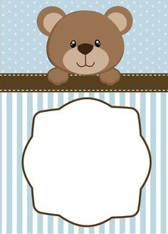 For you who love Teddy Bear very much, here we have a couple of free Teddy Bear birthday invitation templates. Who don't know Teddy Bear? This cute brown bear brings happiness to everyone. Your party would be amazing with his presence.This template c Teddy Bear Baby Shower, Baby Shower Niño, Shower Bebe, Invitaciones Baby Shower Niña, Teddy Bear Birthday, Bear Party, Baby Shower Invitation Templates, Invitation Wording, Baby Cards