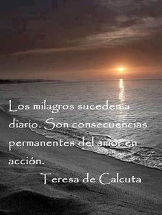 Los milagros suceden diario. Son consecuencias permanentes del amor en acción. Teresa de Calcuta.