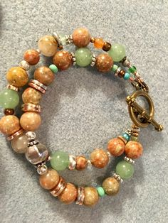 Autumn jasper double strand bracelet.
