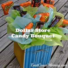 DIY Candy Bouquet... simple and costs less than $10. Fantastic alternative to flowers!