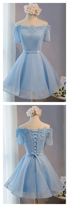 sky blue homecoming dresses, off shoulder short prom dresses, short sleeves graduation dresses #SIMIBridal