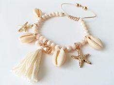 Items similar to Women's bracelet adjustable bracelet Czech glass bracelet summer bracelet star tassel macrame on Etsy Sea Jewelry, Seashell Jewelry, Beaded Jewelry, Beaded Bracelets, Summer Bracelets, Summer Jewelry, Ankle Bracelets, Trendy Jewelry, Cute Jewelry