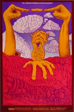 """psychedelic-sixties: """"The Paul Butterfield Blues Band/Santana/Hello People/Iron Butterfly/Initial Shock/Canned Heat/Holy See, July 1968 - August 1968 - Fillmore West (San Francisco, CA) Art by. Hippie Posters, Rock Posters, Band Posters, Music Posters, Psychedelic Art, Fillmore West, Illustration Photo, Vintage Concert Posters, Pop Art"""