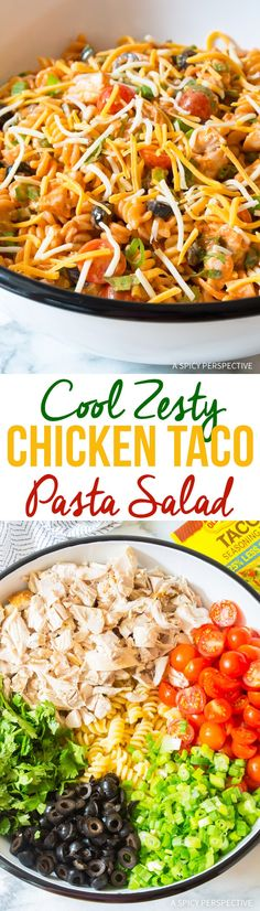 The BEST Cool Chicken Taco Pasta Salad Recipe #mexican #summer via @spicyperspectiv