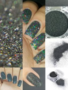 [Visit to Buy] 1pc 2g Woman Holographic Holo Laser Effect Nail Powder Glitter Black Nail Art Glitter Manicure Tools Nail Decoration #Advertisement