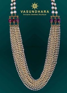 Double strand Akoya cultured pearl necklace with diamonds and tanzanite set in White gold. Indian Jewelry Earrings, Bead Jewellery, Pearl Jewelry, Wedding Jewelry, Beaded Jewelry, Gold Jewelry, Pearl Necklaces, India Jewelry, Tiffany Jewelry