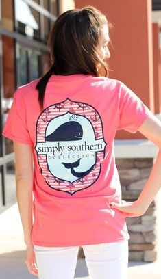 """Simply Southern is a preppy T-shirt collection. This coral tee features a screen print of all things ocean preppy. Model is 5'8"""" wearing a small. 100% Cotton PRESHRUNK Unisex tee. Body Width: S=1..."""