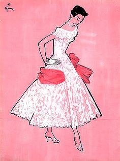 Jacques Fath lace dress with wide satin bow // Illustrated by René Gruau, 1955