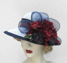 Womens Hat Wide Brim Straw Summer Hats in Red White and by BuyGail, $125.00