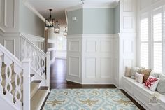 The stair rail! And the window seat! House of Turquoise: Stonecroft Homes