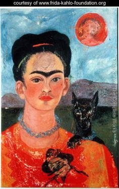Self Portrait with Itxcuintli Dog and Sun    Frida Kahlo