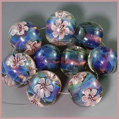 handmade lampwork silver glass flower focal bead set sra