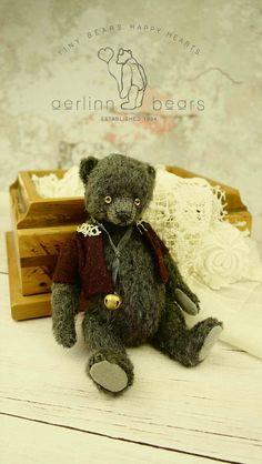 Bertie Miniature  Grey Mohair Artist Teddy Bear by aerlinnbears