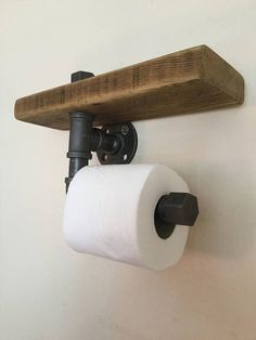Toilet Roll Holder - Rustic Wood - Wood and Steel - Bathroom Accessory - Industrial Decor - Reclaimed Wood - Steampunk Decor