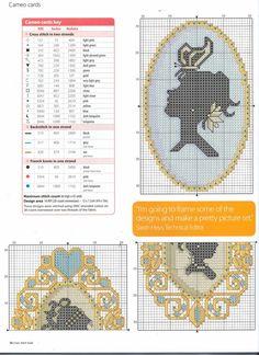point de croix camée avec papillon - cross stitch cameo & butterfly
