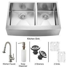 View the Vigo VG15099 Farmhouse Double Bowl 16 Gauge Stainless Steel Kitchen Sink with Larger Left Bowl with Two Strainers and Two Grids (VGR3320BL) and Single Handle Pull-Down Spray with Soap Dispenser (VG02012) at FaucetDirect.com.