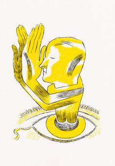 """Pedro Burgos, """"Cor - Amarelo Açafrão"""" (Color - Yellow Saffron), Screenprint, 50 x 35 cm, 2008  © CPS"""