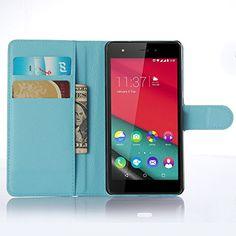 awesome Funda Wiko Pulp 4G,Vikoo(7 colores)Tapa de Cuero de La PU Case de la Cartera con Ranuras para Tarjetas Incorporadas para Wiko Pulp 4G Smartphone PU Textura Lichi Case