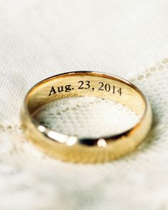 Any ring will be meaningful, but engraving the inside makes it personal. You could add each other's initials and your wedding date. Or take a cue from a couple who chose ILYMTYLTT for their motto: I Love You More Than Yesterday, Less Than Tomorrow. Nicknames or phrases from your vows are nice, too.
