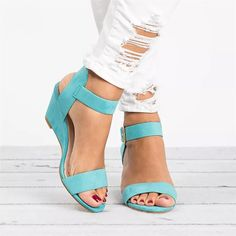 9a57d66cb3e6 Buckle Strap Casual Wedge Sandals (5 Colors)