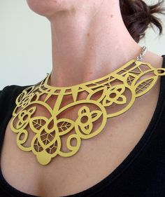 yes!!!  //  Yellow leather necklace – laser cut lace design by EmilydeMollyon Etsy