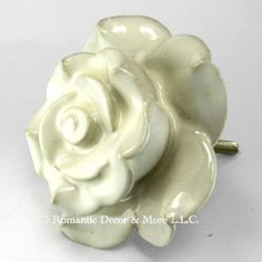 Amazon.com: White Rose Ceramic Knobs, Cupboard Drawer Pulls & Handles ~ Set/4pc ~ C10 Hand Painted Vintage Ceramic Rose Knobs for Cupboards, Cabinets & Vanity with Brass Hardware: Hardware