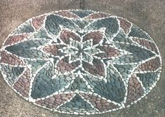 Stone pebble mosaic mandala. Blended colours. Portfolio Gallery - MetaMosaics
