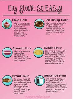 DIY cake flour, DIY self-rising flour, DIY bread flour and MORE! Why buy a new bag of flour when you can - DIY cake flour, DIY self-rising flour, DIY bread flour and MORE! Why buy a new bag of flour when you - Baking Tips, Baking Recipes, Healthy Recipes, Baking Substitutions, Baking Secrets, Thai Recipes, Bread Baking, Baking Biscuits, Baking Basics