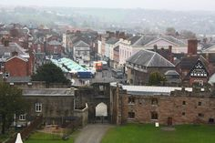 View of the town of Ludlow from the great Keep of Ludlow Castle, Shropshire, England, UK