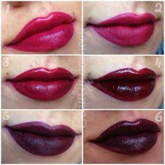 Dark lip swatches1; MAC Rebel 2; Nars Velvet Matte Lip Pencil in Damned 3; Bite Cashmere Lip Cream in Bordeaux 4; Kat Von D Homegirl 5; Nars Velvet Matte Lip Pencil in Train Bleu 6; Make Up For Ever #49
