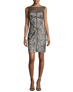 Sleeveless Mesh-Inset Lace Dress, Black by Halston Heritage at Neiman Marcus.