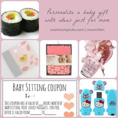 5 small baby gift ideas just for mom: from a sushi gift card to a lullaby playlist on a cute flash drive.