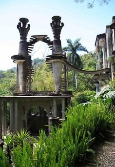 """Las Pozas, Xilitla, Mexico  Built by eccentric English poet Edward James in 1962, this Surrealist sculpture garden took more than two decades to complete and covers more than 80 acres of Mexican jungle. The groovy structure """"Stairway to the Sky"""" is a winding staircase that you can climb for several stories"""