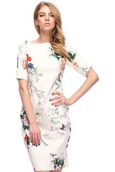 Floral Print Slim White Dress Mobile Site