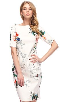 Floral Print Slim White Dress Mobile Site