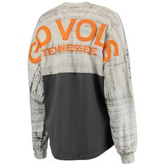 Women's Charcoal Tennessee Volunteers Brush Dip Oversized Tie-Dye Spirit Jersey