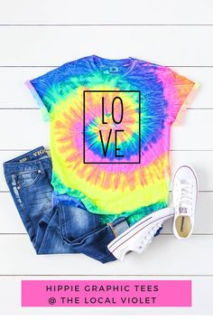 Share the love with this colorful tie dye shirt!  #tiedye #tiedyeshirt #womenstiedyeshirt #hippiestyle #hippiegraphictee #outfitswithsneakers Hippie T Shirts, Hippie Tops, Hippie Style, Rainbow Tie Dye Shirt, Womens Tie Dye Shirts, Cool Graphic Tees, Hippie Fashion, Love Shirt, Hippie Outfits