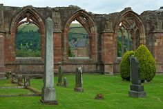 bagpipes ruins | Gothic Windows, Melrose Abbey Ruin