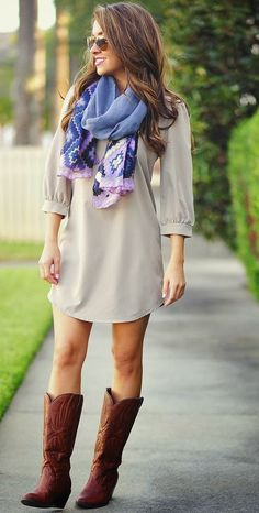 Light grey mini dress, scarf, long boots street style – Vialikes